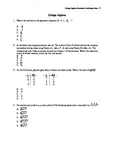 College Algebra Placement Test Sample (PDF)