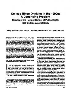 College Binge Drinking in the 1990s: A Continuing ... - Semantic Scholar