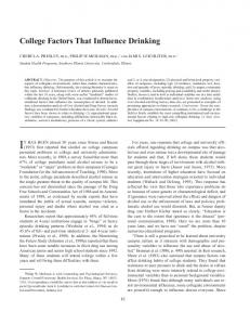 College Factors That Influence Drinking