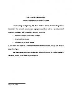 College of Engineering Thesis/Dissertation Format Guide