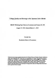 College Quality and Earnings in the Japanese ... - Semantic Scholar