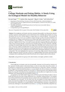 College Students and Eating Habits - MDPI