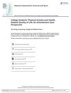 College Students' Physical Activity and Health