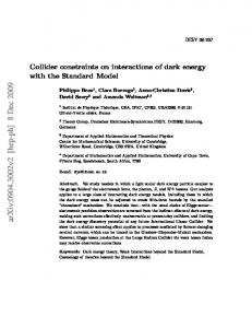 Collider constraints on interactions of dark energy with the Standard ...