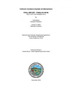 Collision Avoidance System at Intersections FINAL REPORT ...