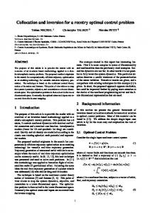 Collocation and inversion for a reentry optimal control problem