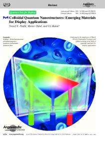 Colloidal Quantum Nanostructures: Emerging ... - Wiley Online Library