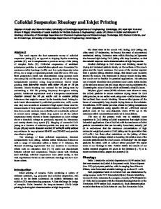 Colloidal Suspension Rheology and Inkjet Printing