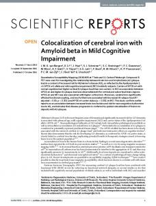Colocalization of cerebral iron with Amyloid beta in ... - Semantic Scholar