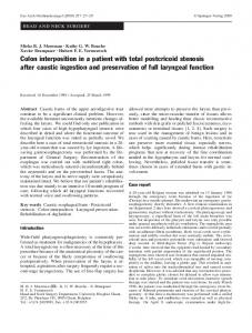 Colon interposition in a patient with total postcricoid ... - Springer Link