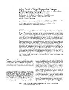Colony Growth of Human Hematopoietic Progenitor ... - Europe PMC