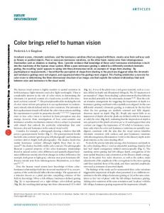 Color brings relief to human vision - McGill Vision Research