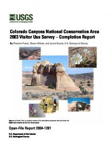 Colorado Canyons National Conservation Area 2003 Visitor Use Survey