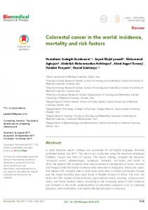 Colorectal cancer in the world: incidence, mortality ...