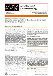 Colorectal cancer mortality in Hong Kong of China, Japan, South ...