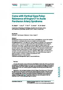 Coma with Vertical Gaze Palsy: Relevance of