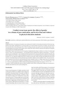 Combat versus team sports: the effects of gender in a climate of ... - cejsh