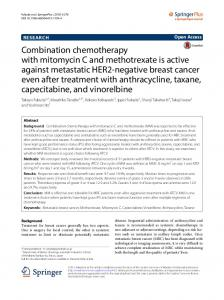 Combination chemotherapy with mitomycin C and methotrexate is