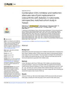 Combination COX-2 inhibitor and metformin attenuate rate of ... - PLOS