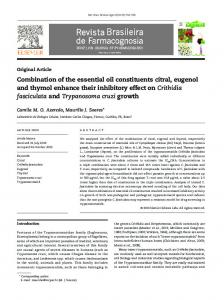 Combination of the essential oil constituents citral, eugenol and thymol ...