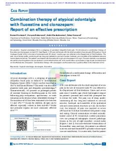 Combination therapy of atypical odontalgia with ...