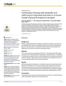 Combination therapy with ampicillin and azithromycin ... - PLOS