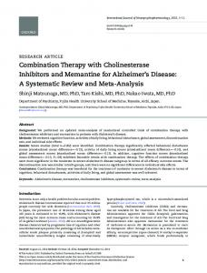 Combination Therapy with Cholinesterase Inhibitors and Memantine ...