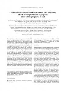 Combination treatment with temozolomide and thalidomide inhibits ...