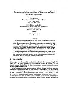 Combinatorial properties of frameproof and ... - Semantic Scholar
