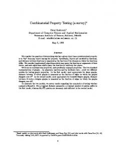 Combinatorial Property Testing (a survey) - Semantic Scholar