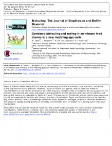 Combined biofouling and scaling in membrane feed channels - TU Delft