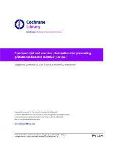 Combined diet and exercise interventions for ... - Cochrane Library