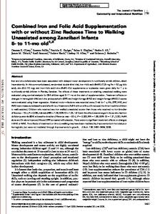 Combined Iron and Folic Acid Supplementation with or without Zinc ...
