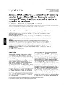 Combined PET and low-dose, noncontrast CT scanning obviates the ...