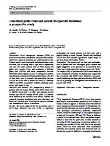 Combined pubic rami and sacral osteoporotic fractures: a prospective ...