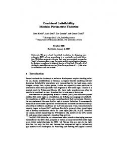 Combined Satisfiability Modulo Parametric Theories