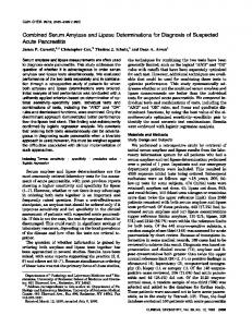 Combined Serum Amylase and Lipase ... - Clinical Chemistry