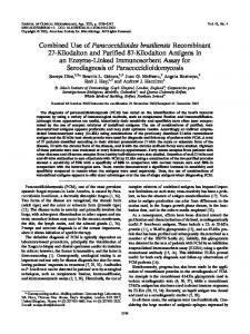 Combined Use of Paracoccidioides brasiliensis Recombinant 27 ...