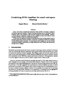 Combining SVM classifiers for email anti-spam filtering - CiteSeerX