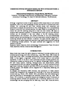 COMBINING SYSTEM DYNAMICS MODELING WITH ... - Journals ISSS
