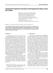 Combustion Properties of Emulsion Fuel Prepared from Heavy Crude ...