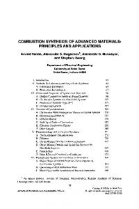 combustion synthesis of advanced materials: principles and ...