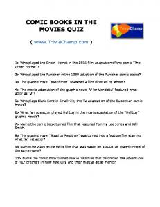 COMIC BOOKS IN THE MOVIES QUIZ - Trivia Champ