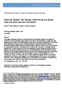 Coming Closer? Tax Morale, Deterrence and Social ... - CiteSeerX