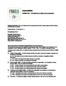 COMM 1307 - Introduction to Mass Communication - Panola College