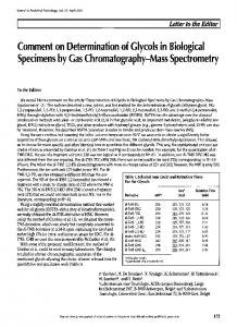 Comment on Determination of Glycols in Biological Specimens by Gas ...