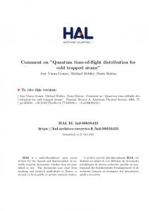 Comment on ''Quantum time-of-flight distribution for cold trapped ... - Hal