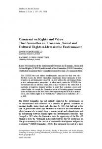 Comment on Rights and Value: The Committee on Economic, Social ...