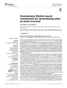 Commentary: Distinct neural mechanisms for ... - Davachi Lab