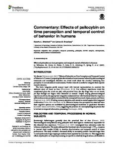 Commentary: Effects of psilocybin on time perception and ... - Core